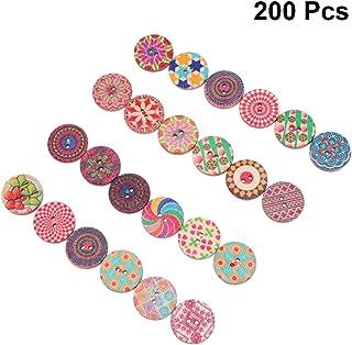 Amosfun 200 peças Botões de madeira Decorativos Vintage Dois Botões de Olho DIY Acessórios de Costura para scrapbook Roupas