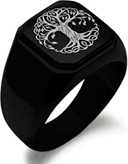 Stainless Steel Celtic Knot Tree of Life Symbol Square Flat Top Biker Style Polished Ring