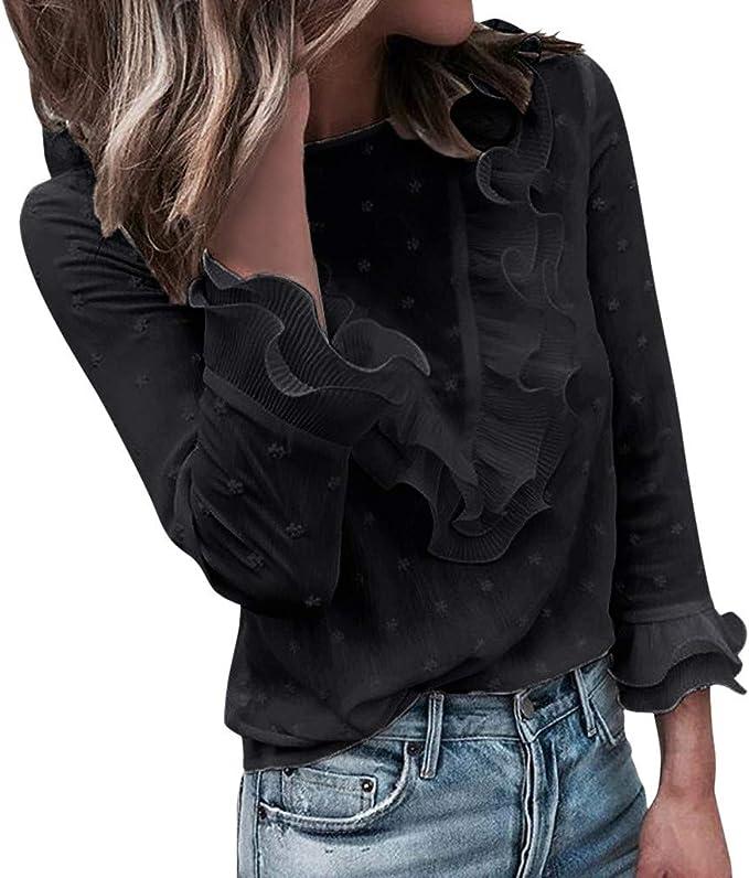 Vectry Blusa para Mujer,De Color Sólido,con Manga Larga,Blusa De Color Liso,con Botones,con Cuello De Pie, Blusa con Volante