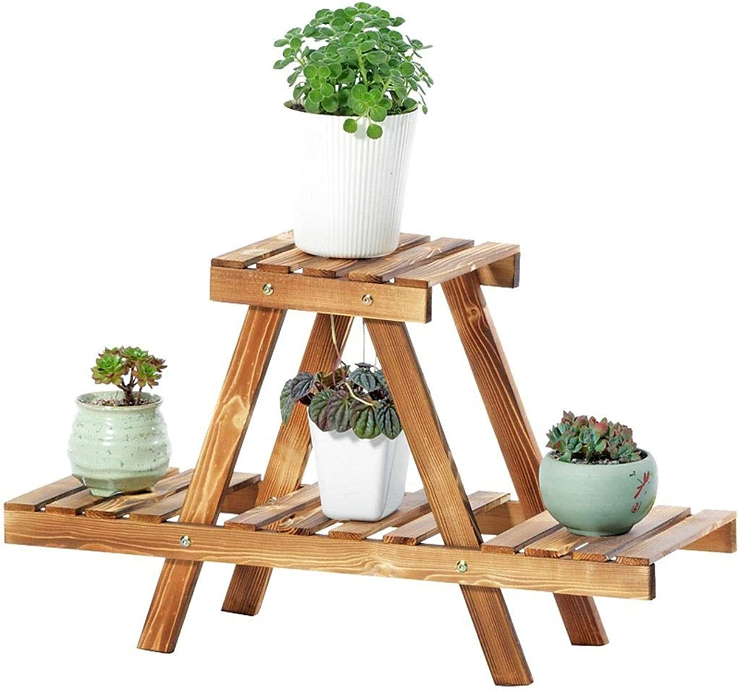 Yalztc-zyq16 Small Solid Wood Multi-Layer Flower Stand Floor-Standing Wooden Design 2 Layers of Independent Shelves Decorative Flower Pot Display Stand, Toys Sundries Multi-Purpose Shelves