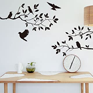 Black Flying Birds Branch Wall Stickers Home Living Room Diy Removable
