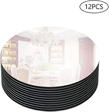 """Murrey Home 12"""" Bevel Edge Mirror Tray Round for Wedding Decorations/Decor, Candle Tray/Plate for Baby Shower, Parties Centerpieces, 12 Pack, 3mm"""