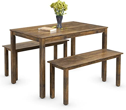 wholesale Giantex Dining Table online with Bench, Wooden 3 Pcs Kitchen discount Dining Room Furniture for 4, Modern Studio Collection Table Set with 2 Benches, Dinette Set, Kitchen Small Bench Table Set (Coffee Brown) outlet online sale
