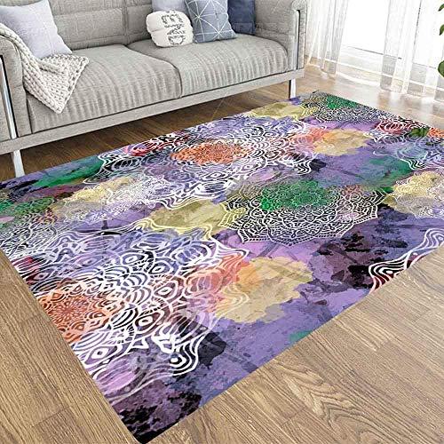 BXYJSHL Patrón de mandala, color blanco y negro, decoración de año nuevo, 12,7 x 17,7 cm, alfombra suave y cómoda, apta para mascotas de los niños, para sala de estar o dormitorio