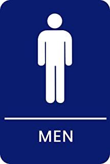 Men's Braille Restroom Sign Blue - Official Bathroom Sign with Double Sided 3M Tape on Back