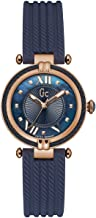 GC Women's Gc CableChic 32mm Blue Silicone Band Steel Case Quartz Analog Watch Y18005L7