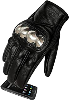 Men's Leather Motorcycle Gloves Steel Armored and...