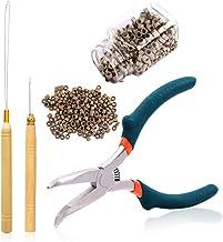 Alicates de punta doblada con dientes Kit de extensión de cabello de 5.5 pulgadas Alicates Kits de herramienta de dispositivo de cuentas de gancho de tracción 500 piezas Micro anillos de 5 mm con rev