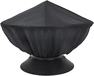 Sorbus Fire Pit Cover, Round 48-Inch Diameter, Heavy Duty Waterproof, Perfect for Home, Patio, Lawn, Garden Furniture, Carry Bag Included (Black)