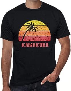 Men's Vintage Tee Shirt Graphic T Shirt Kamakura Sunset Deep Black