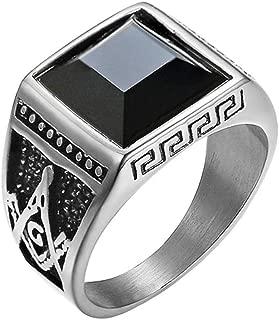 Men's Stainless Steel Vintage Black Onyx Freemason Masconic Rings Master Mason Symbol Biker Band