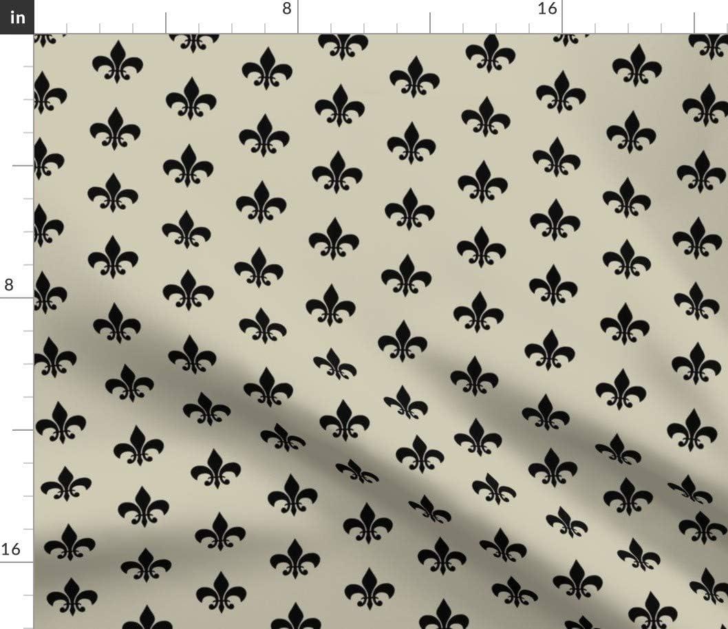 お金を節約 Spoonflower 超定番 Fabric - Tan Black Country Traditional French Fleur