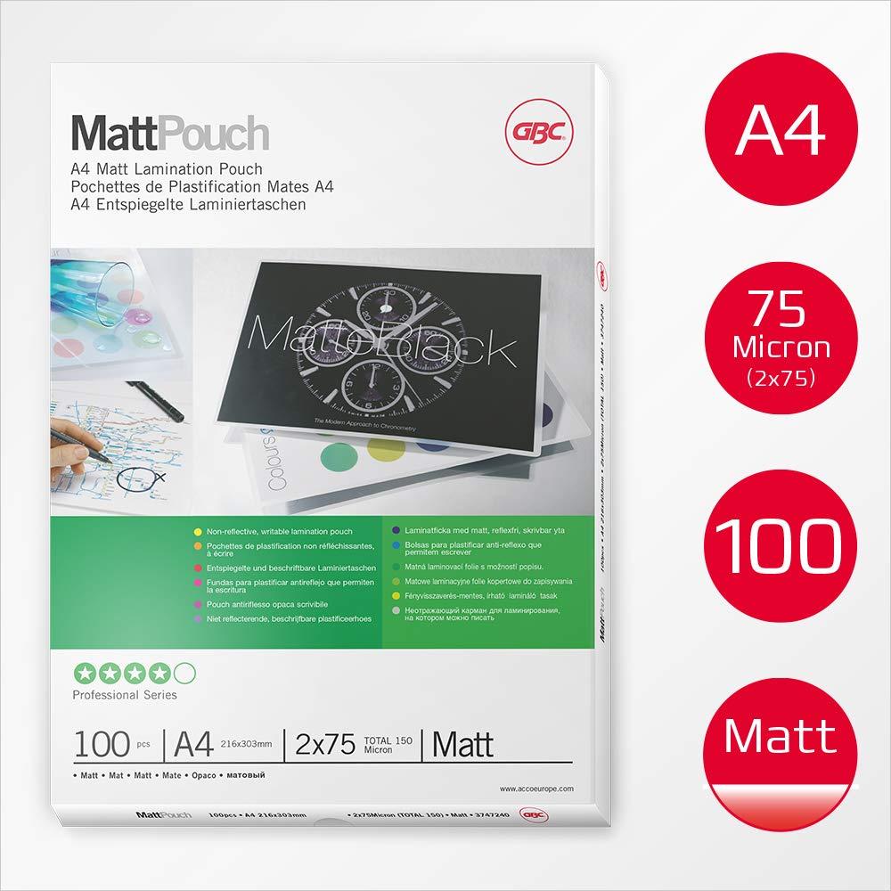 GBC 3747240 - Carteras DIN A4 mate (216X303) 2X75 micras (caja 100): Amazon.es: Oficina y papelería