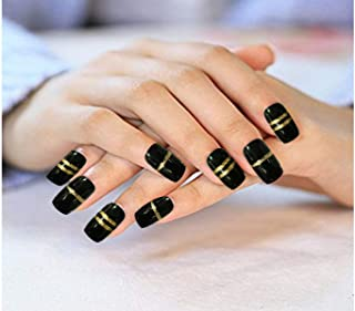 AyA Fashion Self adhesive/Pre-Glued Professional Quality Pre Designed False Nails   French Long Artificial Fake Black Nail with Golden strip   Set of 12 pcs