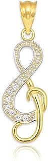 14k Gold Diamond Studded Treble Clef Charm Music Note Pendant
