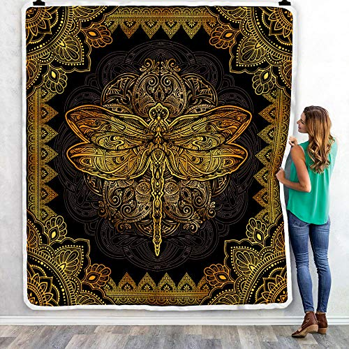 Mandala Dragon Fly Quilt, Buddha Yoga Fleece Blanket, Purple Golden Colorful Gifts for Son, Daughter, Granddaughter, Grandson from Mom, Dad, Grandma, Grandpa Bed Throw
