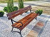 Krakwood Banco de jardín al aire libre, muebles de patio, porche, silla de parque, cubierta nueva de madera, banco de jardín, marco de madera de metal fundido 50 hierro
