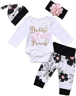 """Geagodelia Babykleidung Set Baby Mädchen Langarm Body Strampler  Hose  Stirnband Mütze Kleinkinder Neugeborene Warme Babyset Kleidung Daddy""""s Prinzessin"""