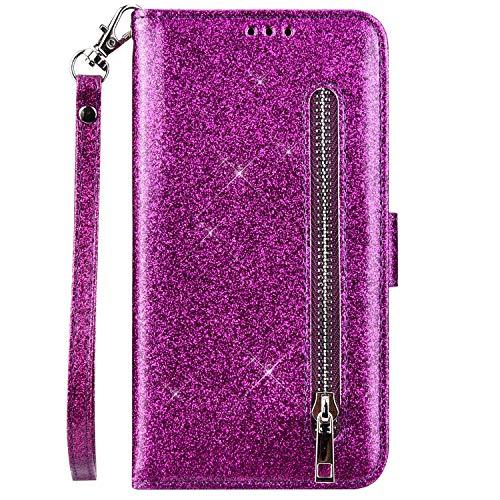 QPOLLY Kompatibel mit Samsung Galaxy A20S Hülle Leder Flip Bling Glitzer,Premium PU Leder Handytasche Glänzend Kristall Ständer Brieftasche Wallet Handyhülle mit Kartenhalter,Lila