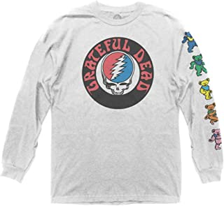 Grateful Dead Adult Unisex Logo with Bears Sleeve Hit Heavy Weight 100% Cotton Long Sleeve Crew T-Shirt
