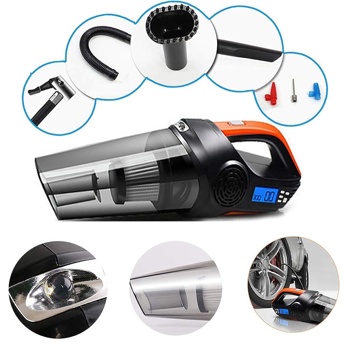 言い訳印をつける工業用4-1車の掃除機、ポータブル湿式及び乾式掃除機、DC12V 120Wタイヤインフレータ+ポンプ圧力ゲージ+ LEDライト、デュアルフィルタ、14.8インチ電源コード