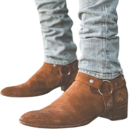 6ad918c59 Mens Wyatt Harness Boots Chunky Low Heel Zip-up Pointed Toe Faux Suede  Winter Ankle
