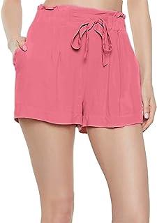 PATRORNA Patrona Antimicrobial Blended Womens Paperbag Shorts/Hot Pant (Vinyl Hot Pink, XS-10XL)