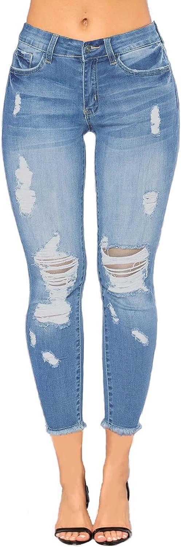 Women's Skinny Jeans Ripped High Waist Stretch Distressed Boyfriend Denim Pants Butt Lift