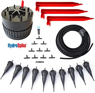 HydroSpike Daisy Hub Dripline System Starter Kit. Portable Drip Irrigation System. Needs No Faucet, Spigot. Automatic Outdoor Garden Watering System. Clustered Drip Location Feature Irrigation Tubing