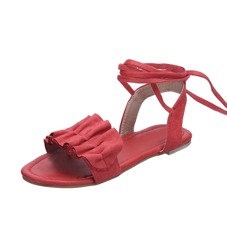 一人で橋脚貸すMhomzawa サンダル レディース シューズ 女性 ソリッド フリル ラウンドトゥ 可愛い フラットヒール クロス タイサンダル ローマシューズ 靴 ビーチ