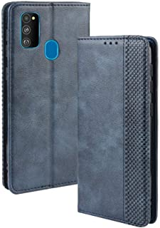 LAGUI Compatible for Samsung Galaxy M30s Case, Retro Style Wallet Magnetic Cover with Credit Card Slots and Flip Stand. blue