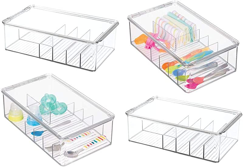 MDesign Stackable Plastic Storage Organizer Container For Kitchen Cabinets Pantry Countertops Holds Kids Child Toddler Mealtime Sets Small Accessories 6 Sections BPA Free 4 Pack Clear