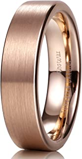 Glory 6mm/8mm/10mm/12mm 18K Rose Gold Tungsten Carbide Wedding Band Ring Pipe Cut Brushed Finish for Unisex