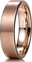 King Will Glory 6mm/8mm/10mm/12mm 18K Rose Gold Tungsten Carbide Wedding Band Ring Pipe Cut Brushed Finish for Unisex