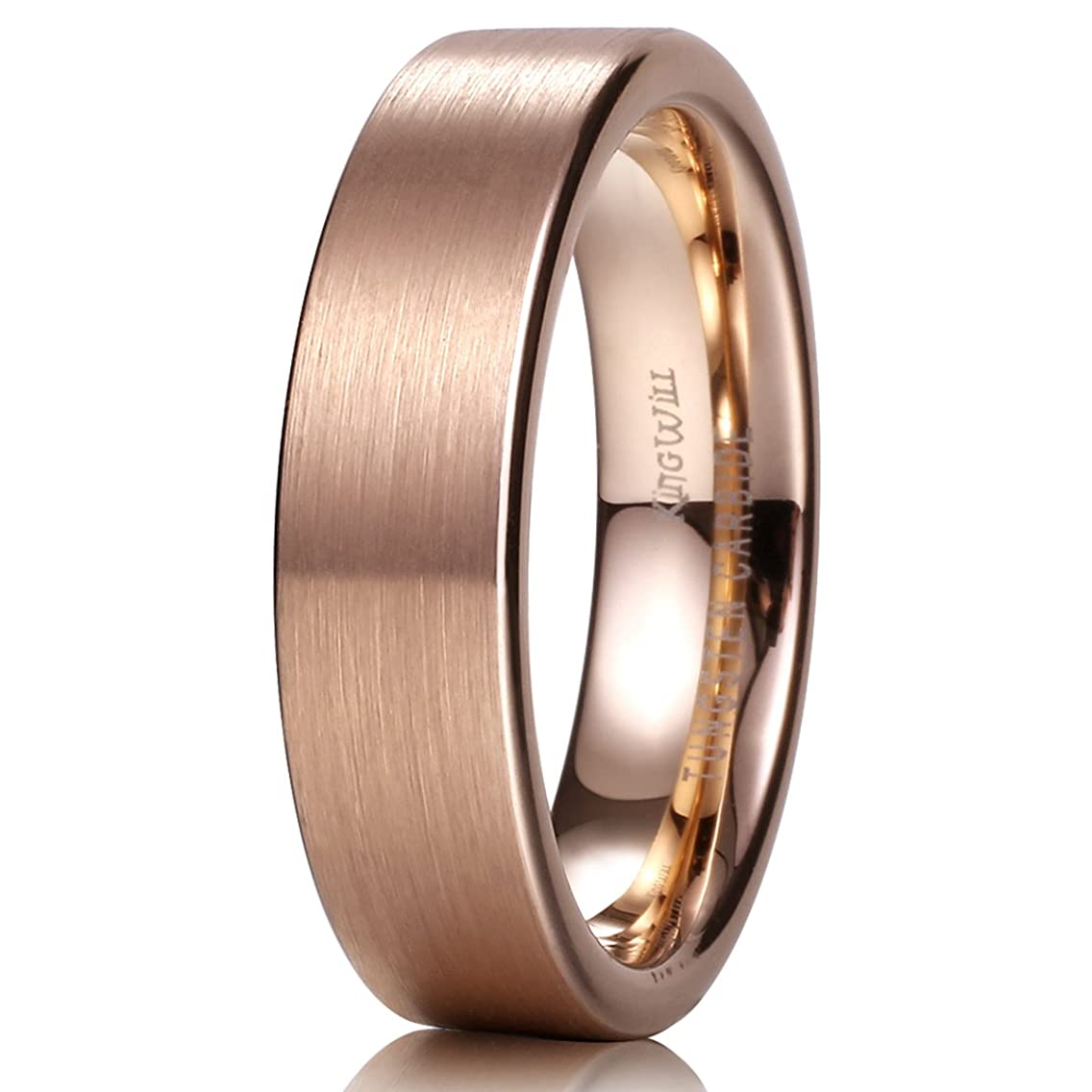 King Will Glory Unisex 6mm 18K Rose Gold Tungsten Carbide Wedding Band Ring Pipe Cut Brushed Finish