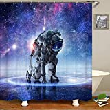 SARA NELL Astronaut Shower Curtain Spaceman Universe Galaxy Sparkle Stars...