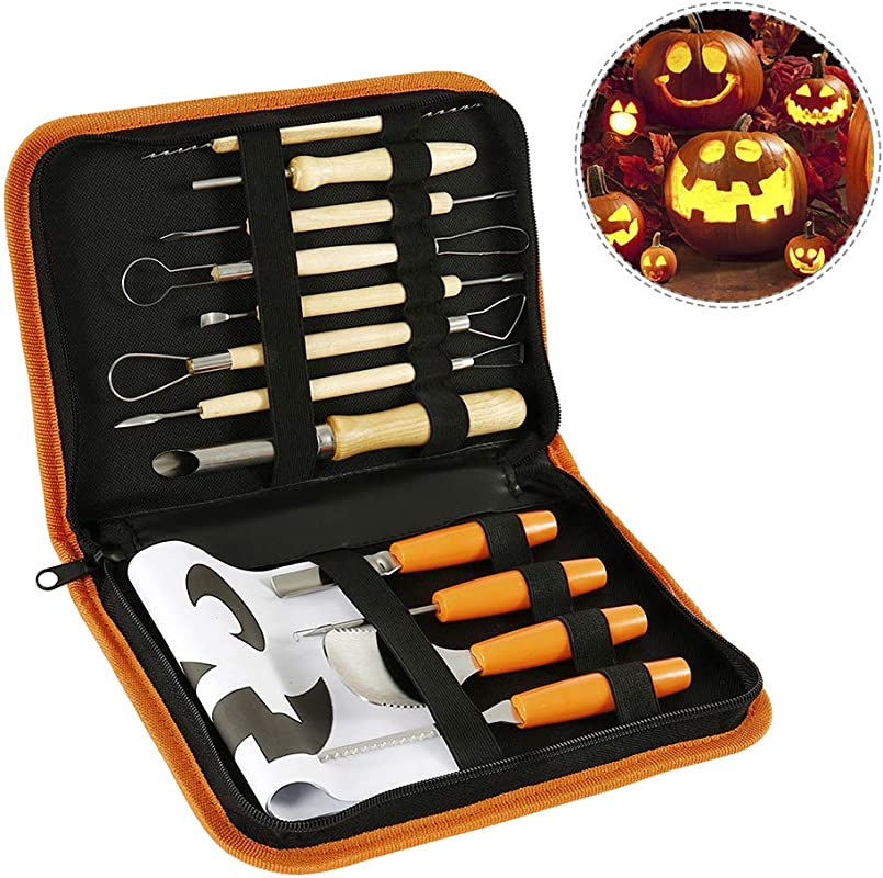 BullStar Halloween Pumpkin Carving Tools Kit 12pcs Stainless Steel Pumpkin Carving Kit For Halloween Decoration Easily Carve Jack O Lantern Wooden Sculpture Knife