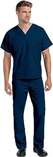 Landau Unisex V-Neck Scrub Top 7502 & Scrub Pant 7602 Medical Uniform Scrub Set (Navy - Medium)