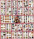 Tatuajes Temporales de Halloween, Fyvdio 30 Hojas Tatuajes Temporales Halloween Niños, Pegatinas de Tatuajes Halloween, Halloween Engomadas Tatuaje, para Fiesta de Halloween Suministros Decoraciones