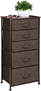 mDesign commode en tissu/métal/bois – meuble de rangement pratique à 5 tiroirs de 2 tailles différentes – étagère de range...