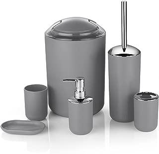 Zuvo 6 Pcs Plastic Bathroom Accessory Set Luxury Bath Accessories Bath Set Lotion Bottles, Toothbrush Holder, Tooth Mug, Soap Dish, Toilet Brush, Trash Can, Rubbish Bin (Grey)