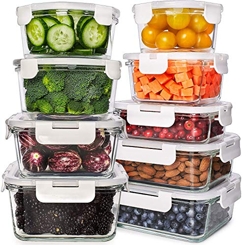 Glass Food Storage Containers with Lids - Glass Meal Prep Containers Glass Containers For Food Storage with Lids 9 Pcs. Glass Storage Containers with Lids Glass Food Containers Glass Lunch Containers