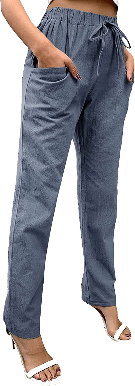 MakeMeChic Women's Drawstring Tapered Pants Elastic High Waist Pencil Pants Pocket