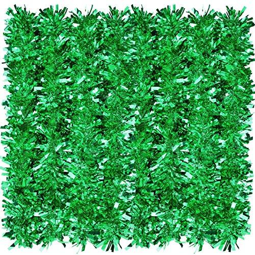 eBoot 32,8 Ft Orpello di Natale Ghirlanda in Metallo Scintillante Ghirlanda Spessa Decorazioni Appese all'Albero di Natale per Decorazioni Natalizie per Interni e Esterni (Verde)