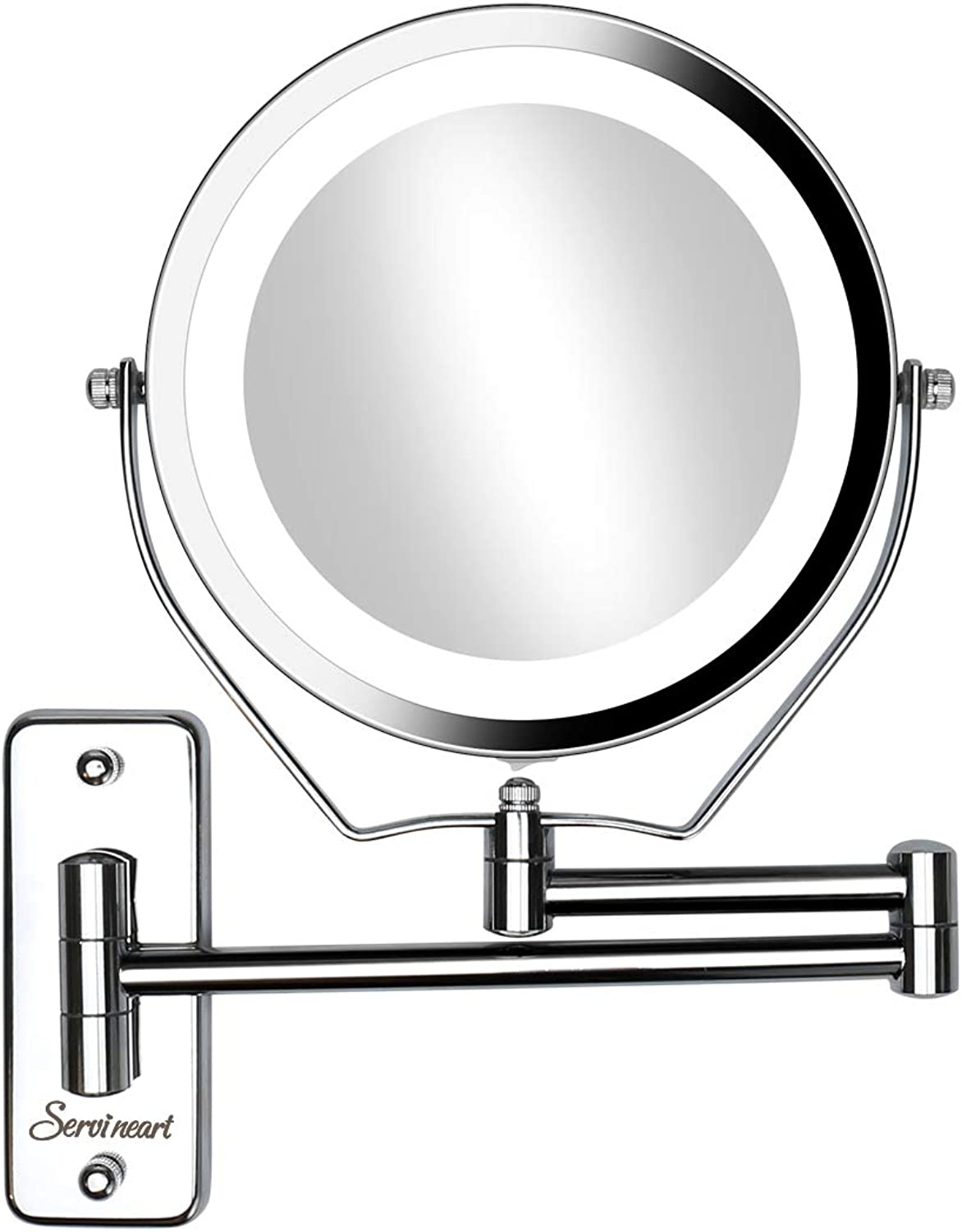 Servineart 7  1X &10X Magnifying Double Sided Vanity Makeup Mirror Light, Wall Mount, Round, Chrome