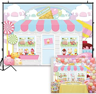 Funnytree 7x5ft Ice Cream Parlor Shop Backdrop Summer Pink Sweet Candy Princess Girl Baby Shower Birthday Photography Background Doughnut Party Decoration Banner Photo Studio Booth Props