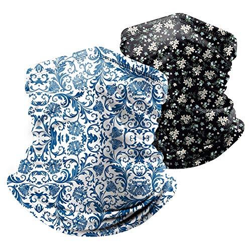 Paisley Face Scarf Mask Neck Gaiter 2 Pack Flower Breathable Bandana Women Men