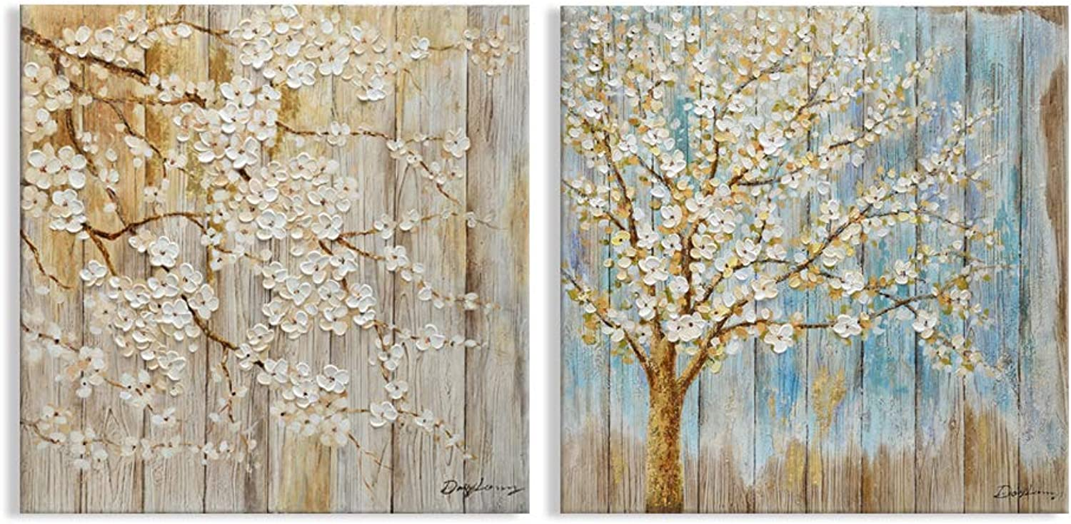 Kas Home Art Modern Abstract Blooming White Flower Tree Canvas Prints Framed Wall Art Wall Paintings for Living Room Bedroom Home Decorations Wall Decor (24x24 Inch, A&B Framed)