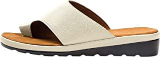Comfy Platform Flat Sole PU Leather Shoes for Women Casual Soft Big Toe Foot Correction Sandal with Orthopedic Bunion Corrector