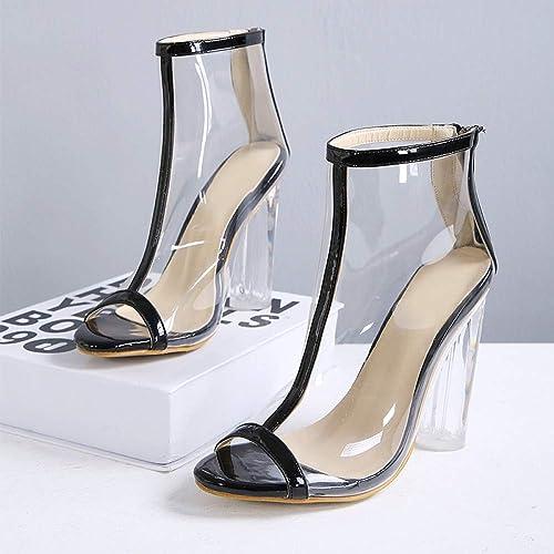 XTQCBQL été Femmes 12 cm Talons Sandales Femme Transparent Chaussures Chaussures Chaussures Dame PVC épais Bloc Talons Peep Toe Pompes 85c